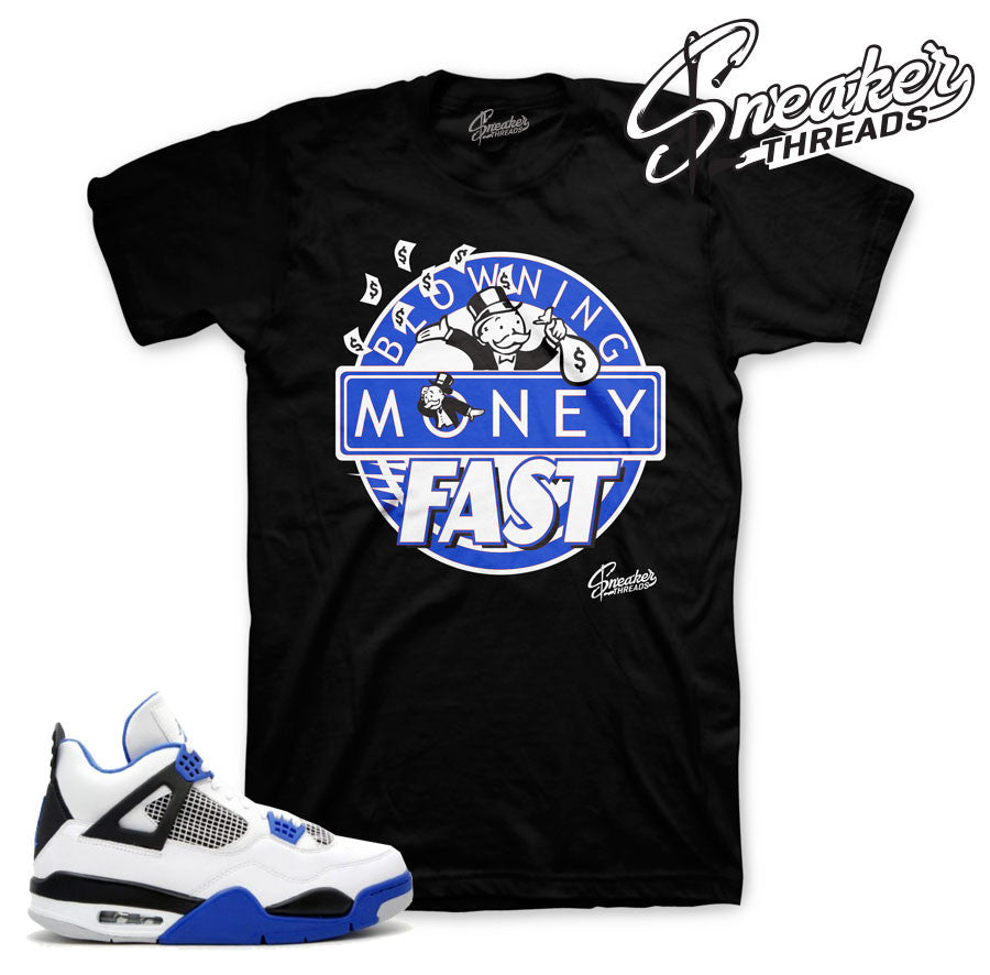 Shirts match Jordan retro 4 motorsport sneakers.
