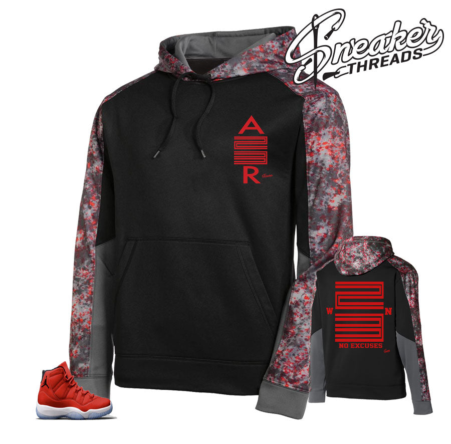 Retro 11 win like 96 camo hoody to match retro 11 Jordan 11 gym red.