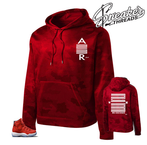Jordan 11 win like 96 camo hoody to match retro 11 gym red.