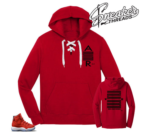 Jordan 11 win like 96 hooded sweater to match retro 11 gym red shoes.