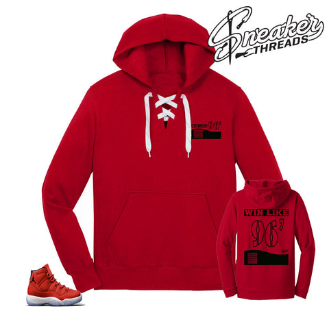 Jordan 11 win like 96 hoody to match retro 11 gym red shoes.