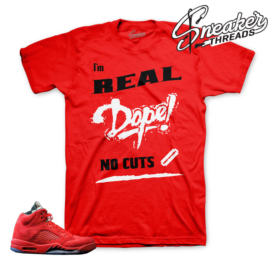 Red suede Jordan 5 t shirts match retro 5 red suede.