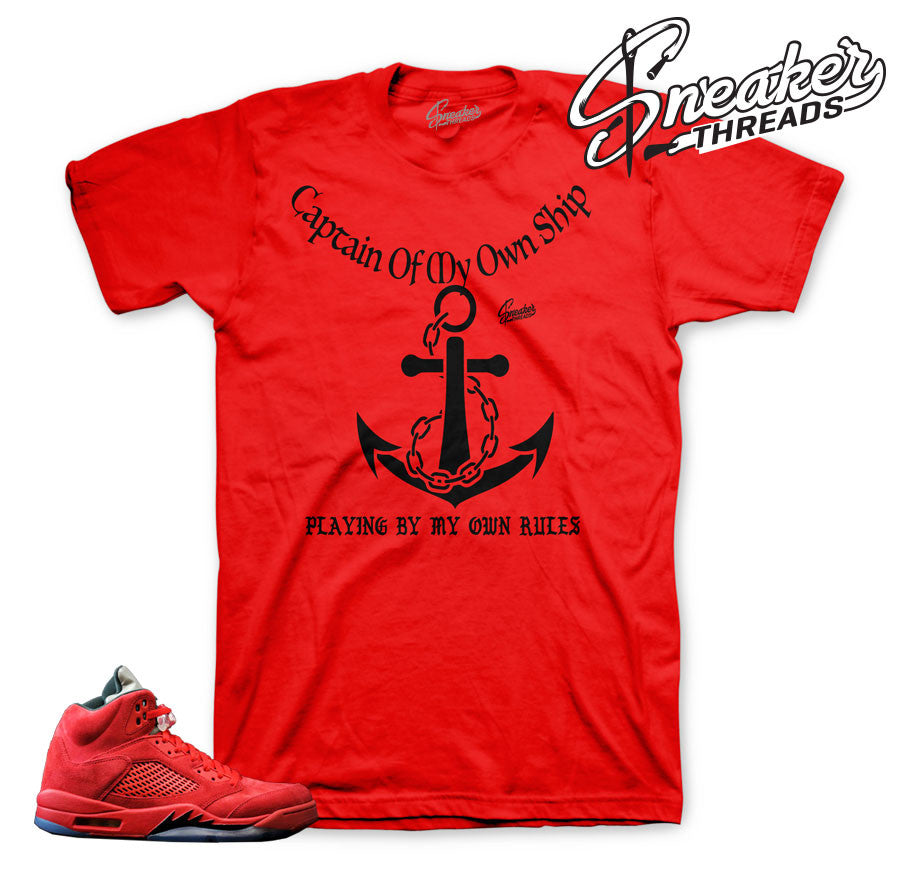 Red suede Jordan 5  shirt match | Red Suede clothing