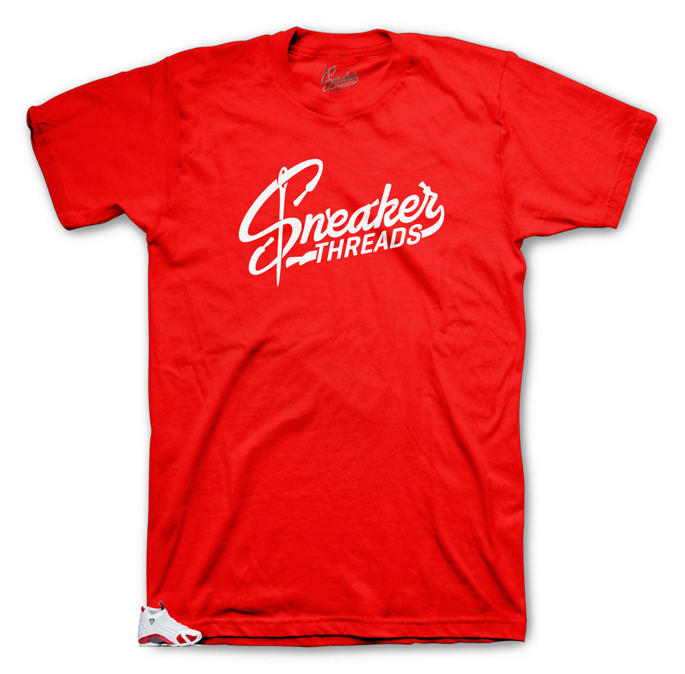 28d946fb273836 Tee designed to match the retro sneaker Jordan 14 Candy Cane Collection  perfectly