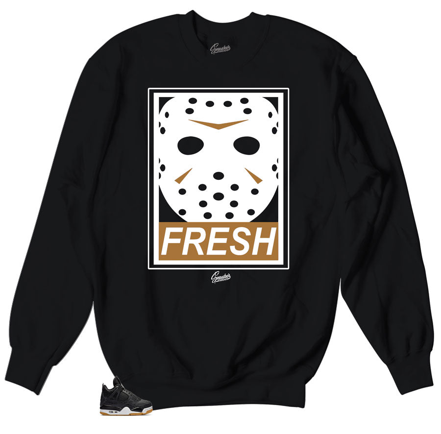 Retro sneaker Jordan 4 black gum match sweater crewneck designed to match Jordan 4 sneaker