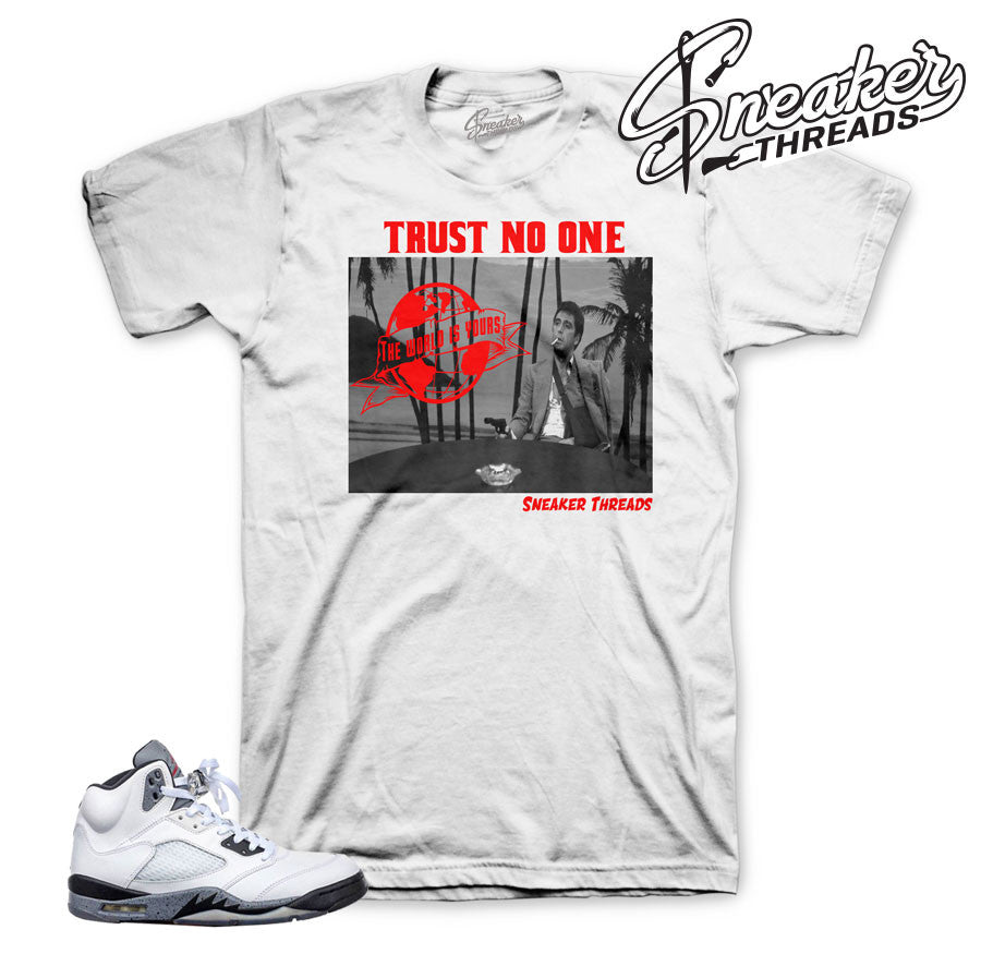 The best sneaker tees match Jordan 5 cement shoes.