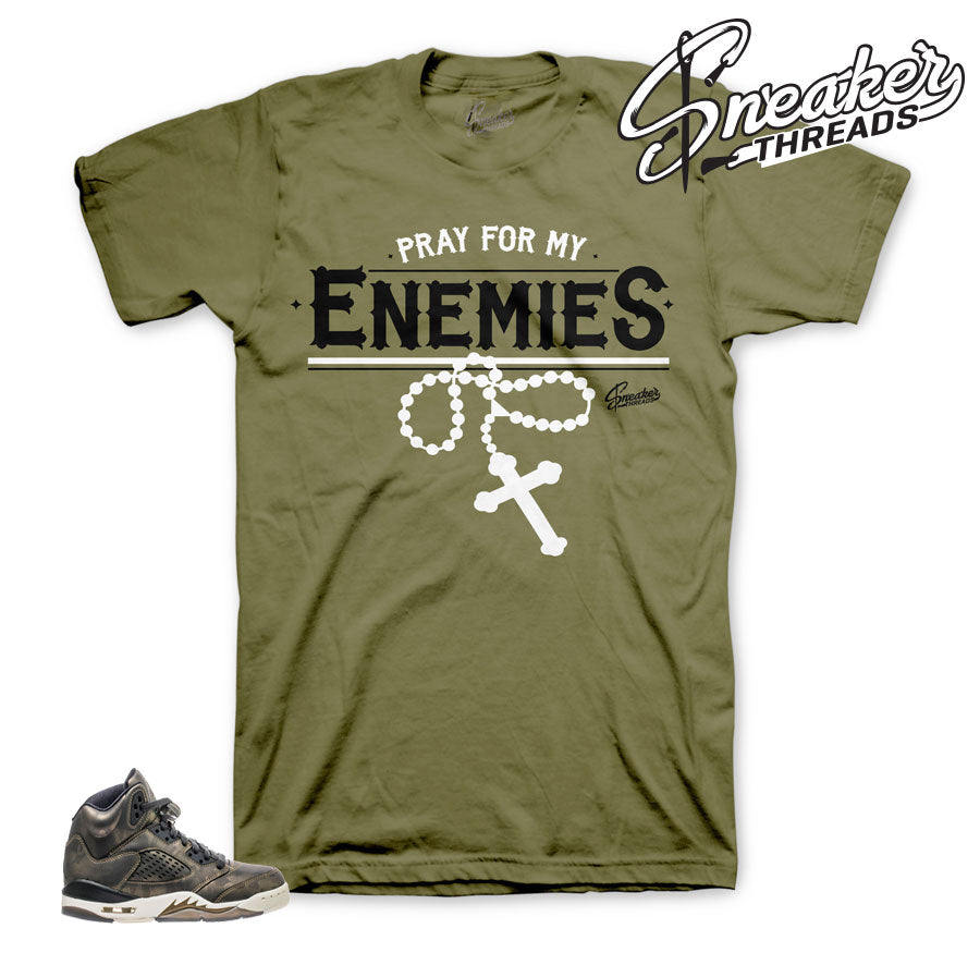 Heiress Jordan 5 shirts match retro 5 camo GS sneaker tees.