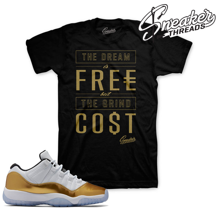 Shirts match Jordan 11 closing ceremony retro 11 low gold tees.