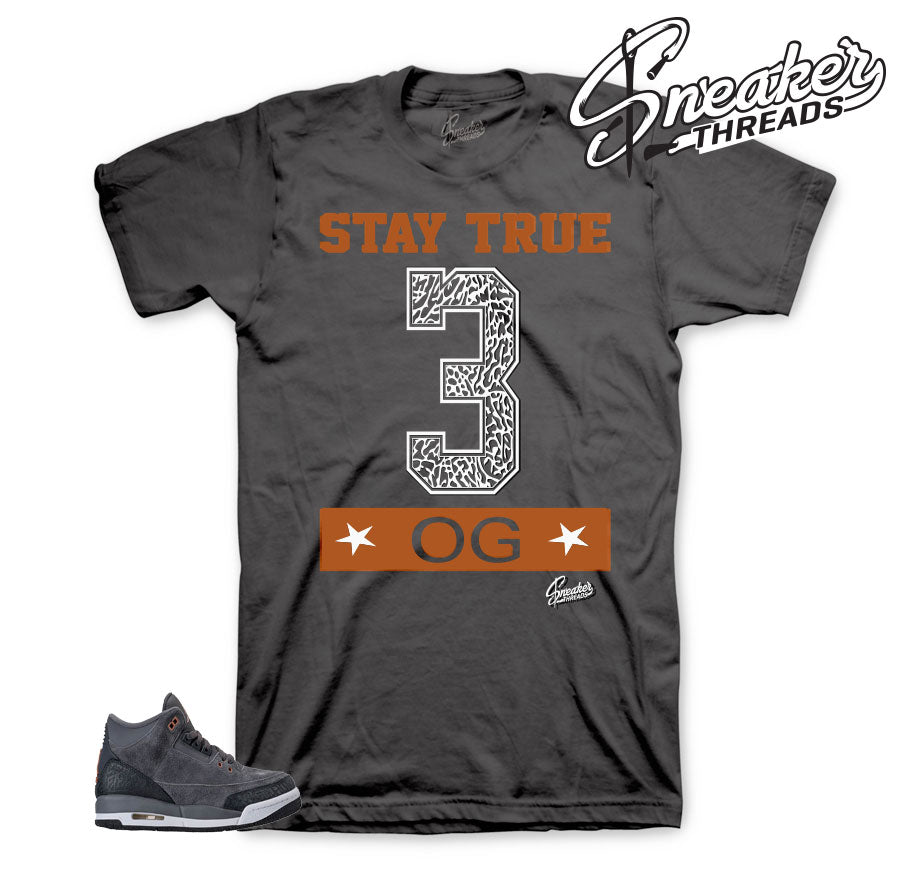 Anthracite Jordan 3 shirts match retro 3's GS sneaker tees.