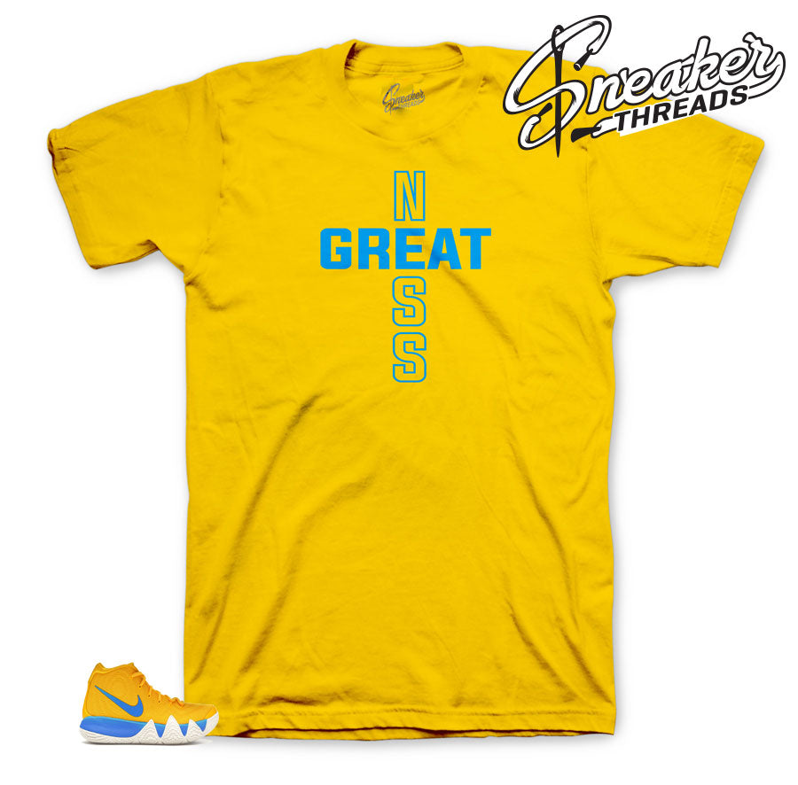 Yellow tee to match Kyrie Kix 4 Perfect