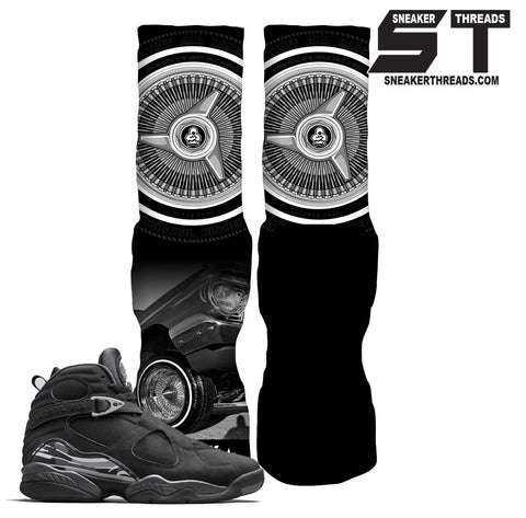 Jordan 8 chrome black sneaker elite socks. Rufnek elite socks.