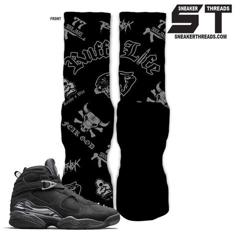 Socks to match Jordan 8 chrome black. Retro 8 elite socks.