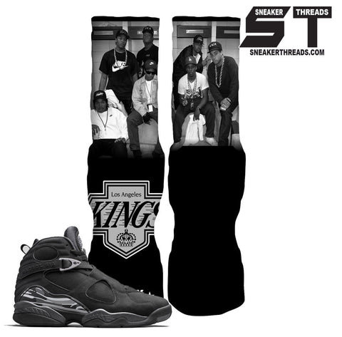 Jordan 8 chrome black sneaker elite socks. Retro 8 elite socks.