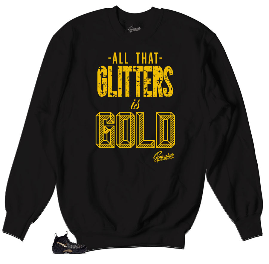 Glitters Sweater to match foamposite black and gold metallic shoes.