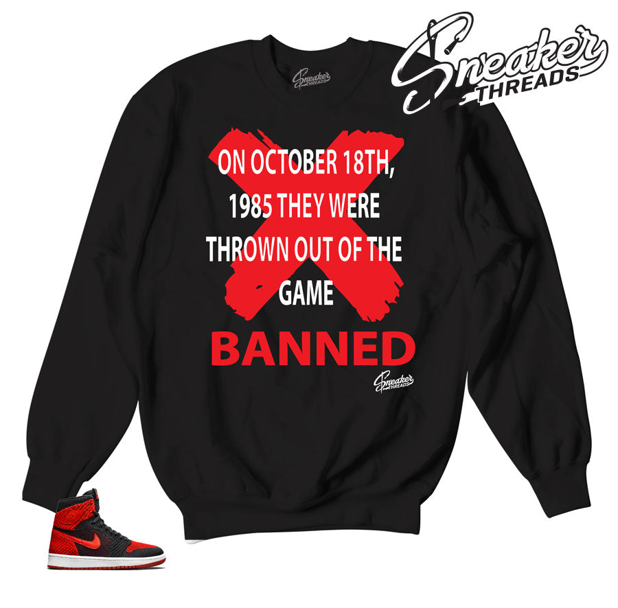 Jordan 1 flyknit sweater match retro 1 banned sneaker crewnecks.