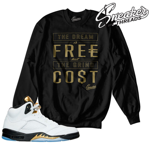 Jordan 5 gold tongue sweaters match retro 5 olympic gold crew.