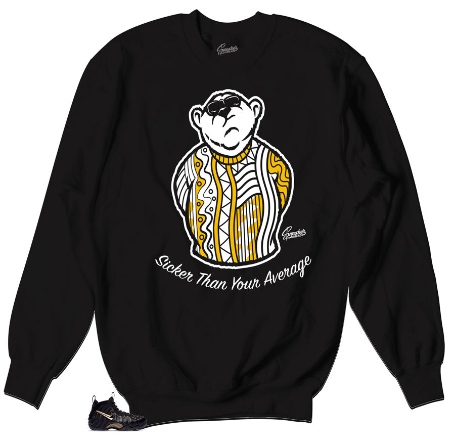 Big Bear Sweater to match foamposite black and gold metallic shoes.