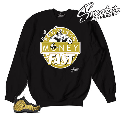 Foamposite metallic gold sweaters. My life sneaker match crew.