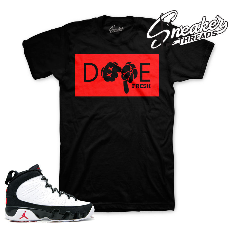 Jordan 9 OG space jam tees match retro 9's shoes.