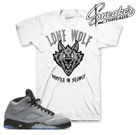 Shirts match Jordan 5 GS wolf grey retro 5 wolf grey tees.