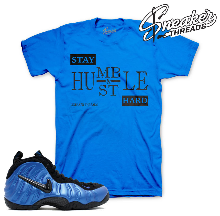 Foamposite pro royal shirts match foam varsity blue royal shirts.