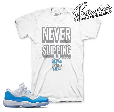 Tees match Jordan 11 low columbia retro 11 UNC Tees shirts.