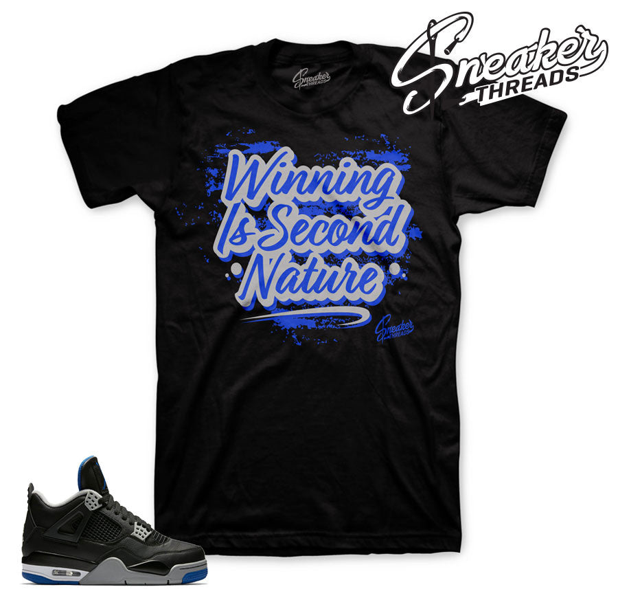 Jordan 4 alternate motorsport royal shirt match shoes.