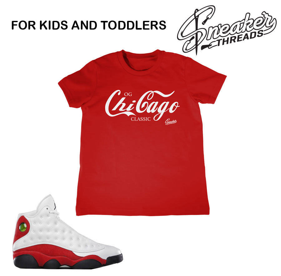 Kids Jordan 13 Og Chicago shirts match retro 13 toddler tees.
