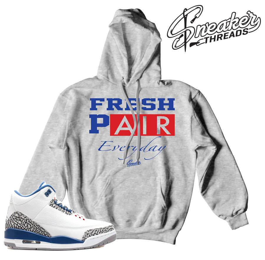 Match Jordan 3 true blue hoody retro 3's true blue jacket.