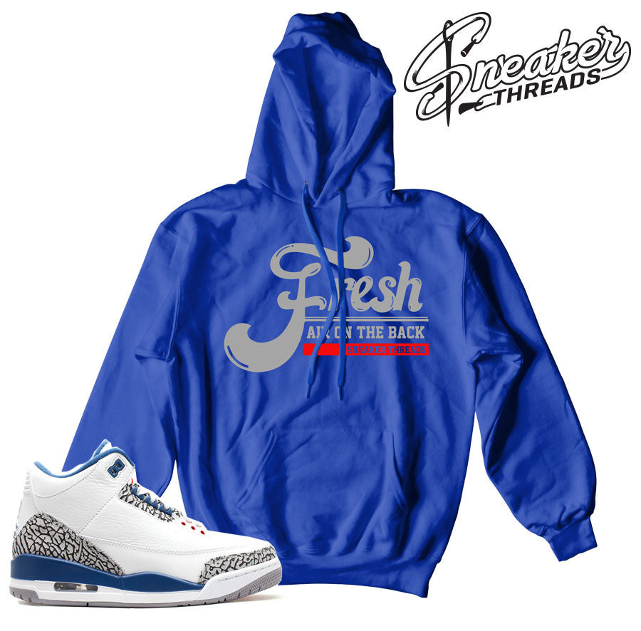 Match Jordan 3 true blue hoodies retro 3's true blue hoody.
