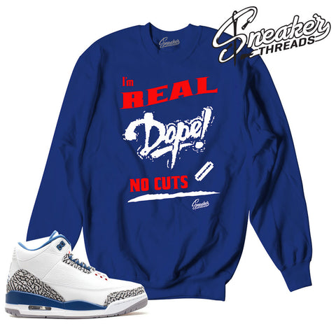 True blue retro 3 sweaters match jordan 3 clothing.