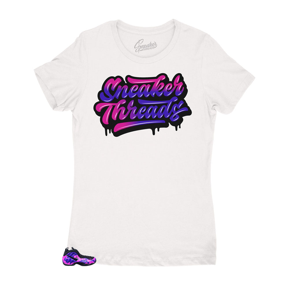Purple Cam Foamposite has matching womens shirts designed to match the purple camo shoes