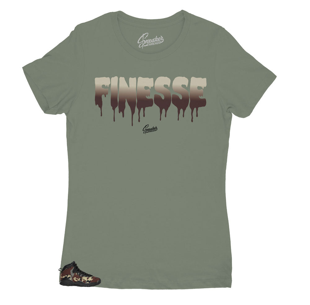 Womens JOrdan 10 woodland camo sneaker matches womens shirts designed to match perfectly