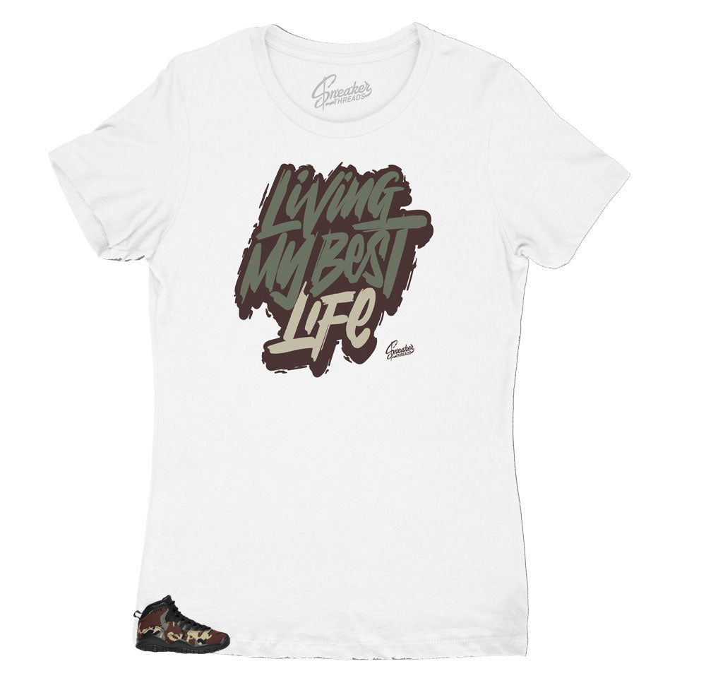 Womens sneaker Jordan 10 woodland camo matching womens shirts made to match perfectly with the camo woodland sneaker