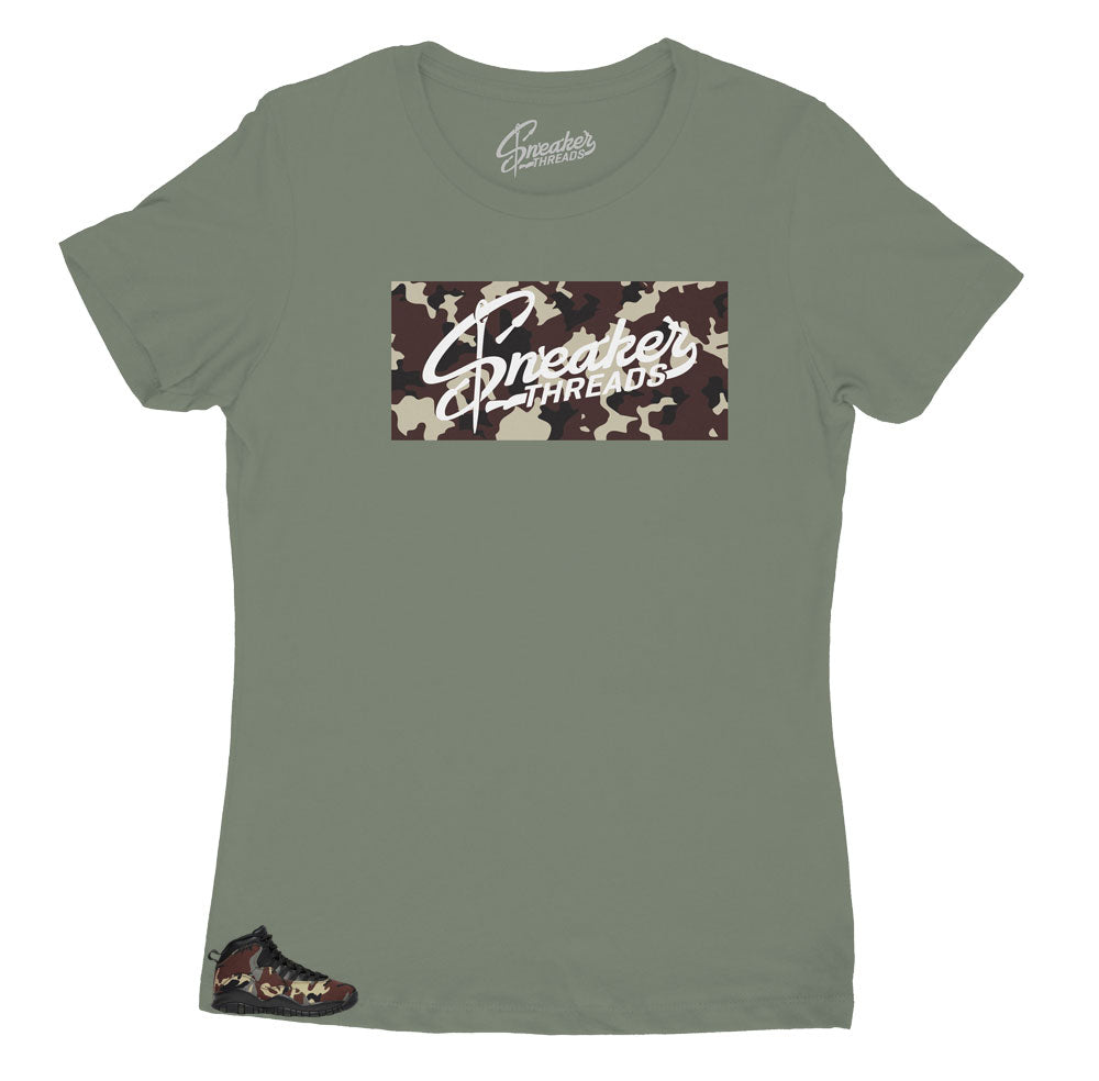 Jordan 10 womens woodland camo sneaker collection matches womens tee perfectly