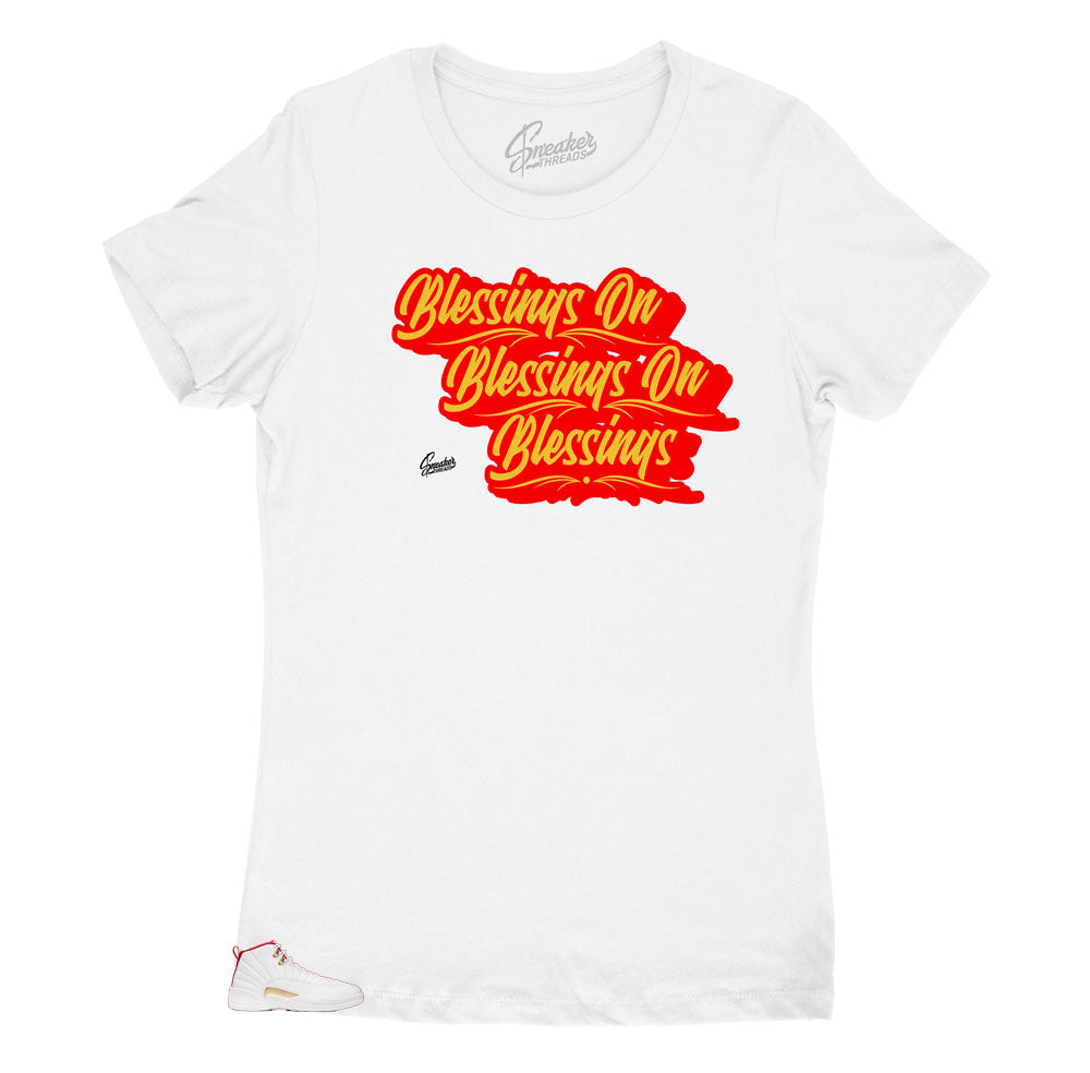 ladies shirts matches ladies Jordan 12 FIBA sneaker collection perfectly