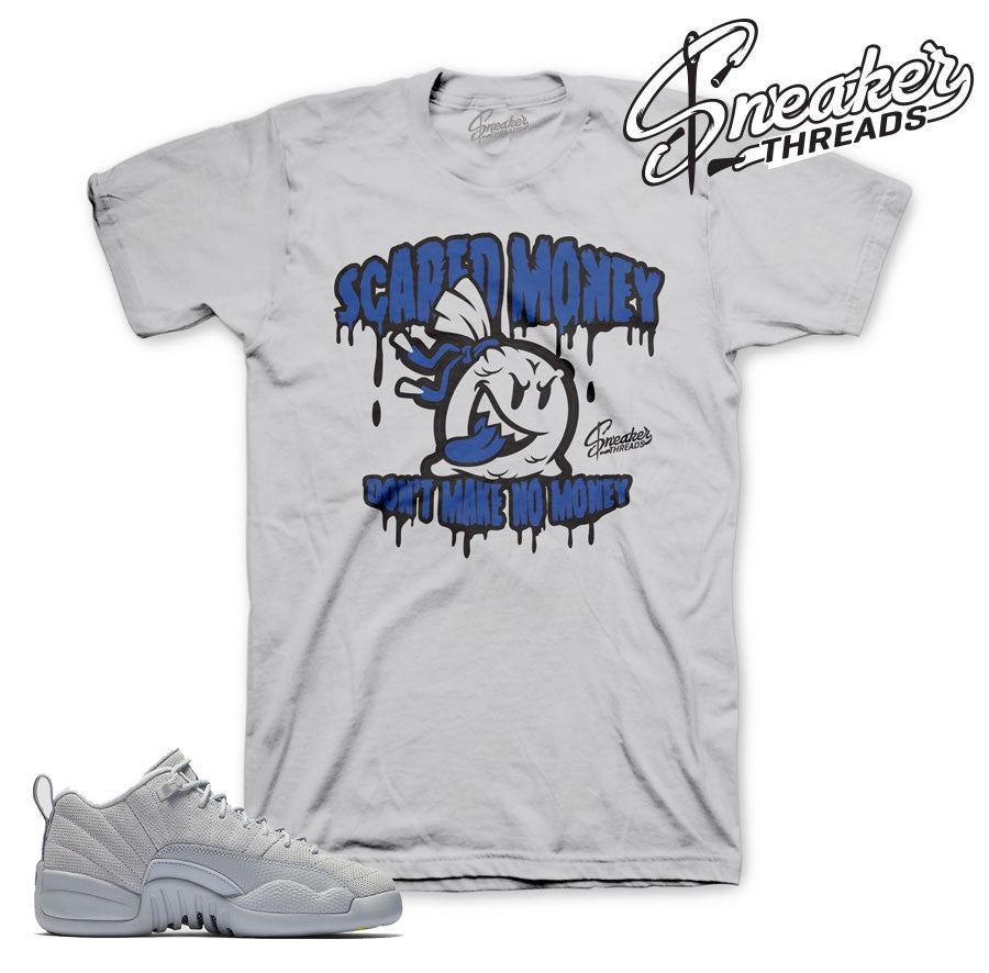 Wolf grey jordan 12 t shirts match sneakers retro 12's.
