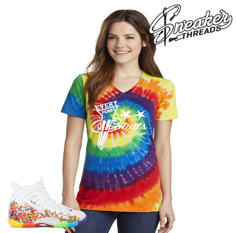 Women's fomaposite fruity pebbles tees match foam sneaker shirt.
