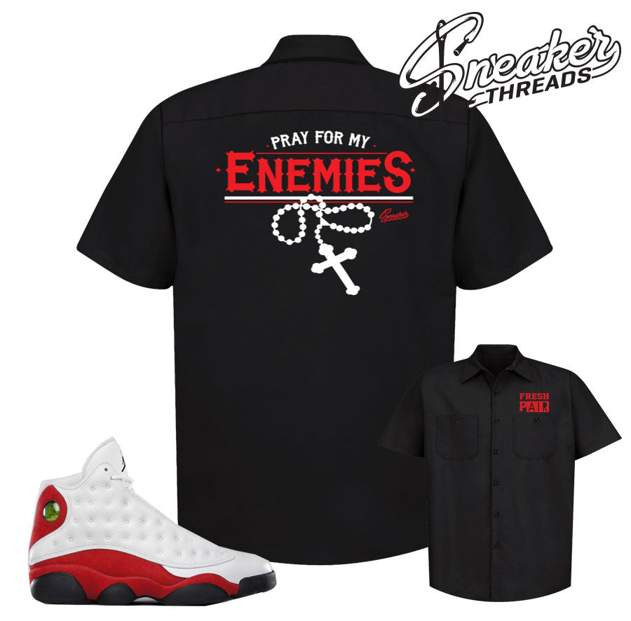 Jordan 13 og chicago button down shirts match sneakers.