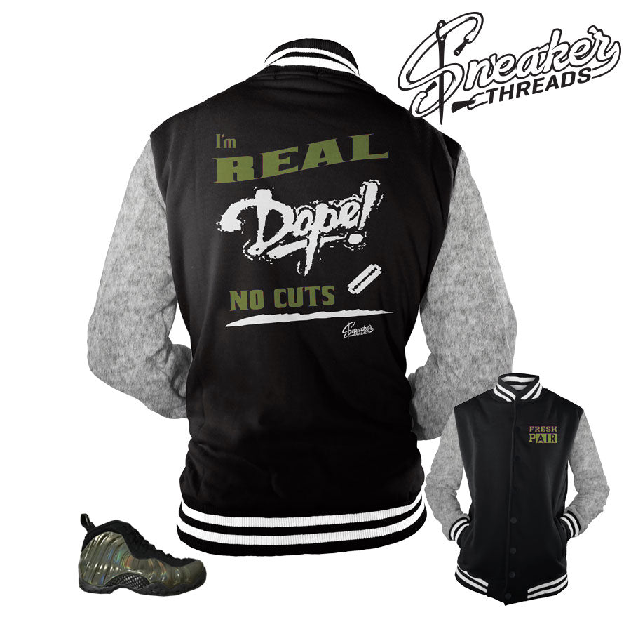 Varsity jacket match foamposite legion green shoes.