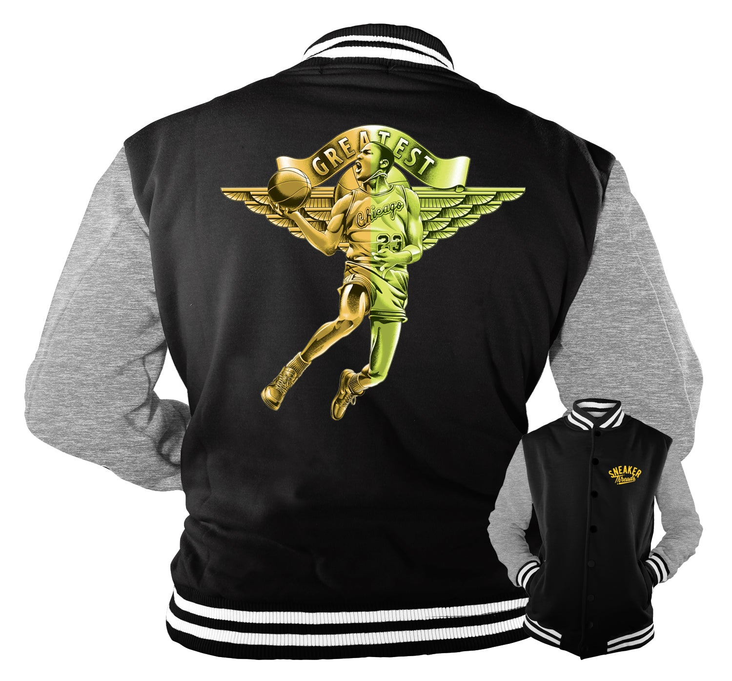 Jacket Collection designed to match the Jordan 1 volt gold sneakers