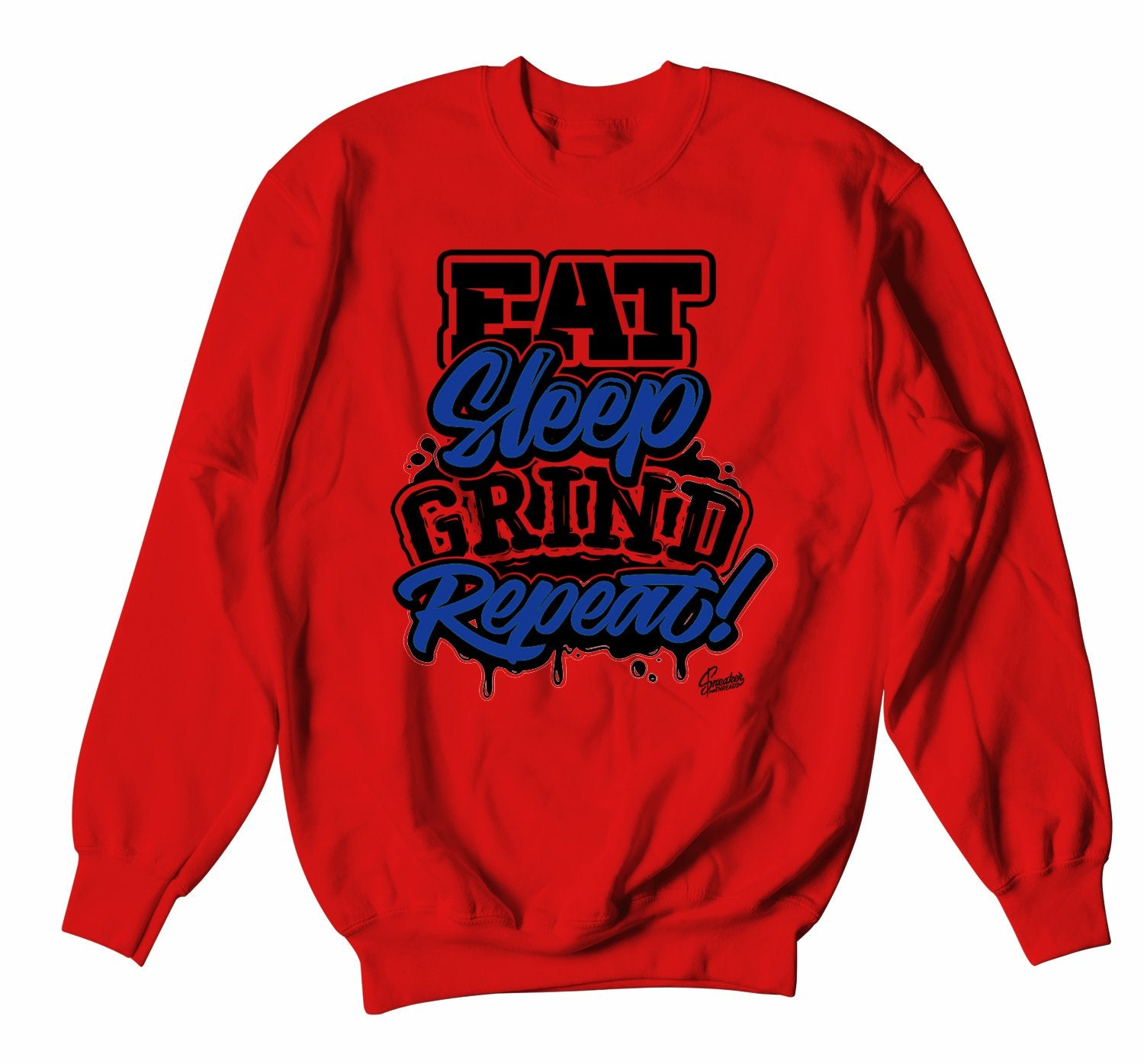 Red crewnecks designed to match the Jordan 4 loyal blue sneakers