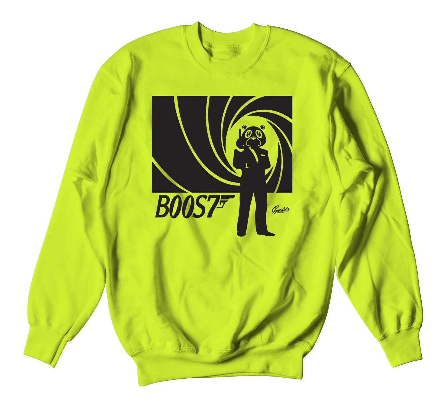 Neon green crewnecks designed to match the yeezy yeezreel sneakers