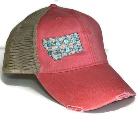 Coral w Turquoise Checkered MT Hat