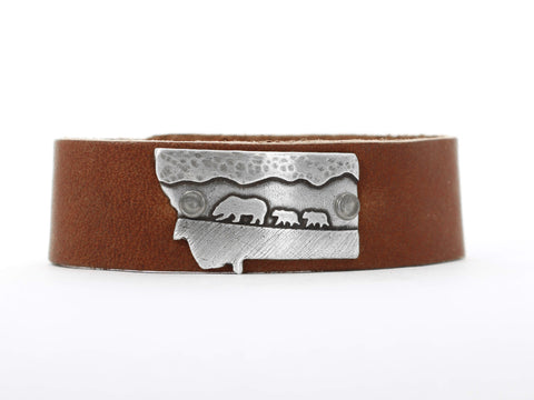 Mama and Cubs in MT leather cuff