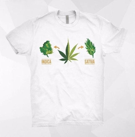 T-shirt cannabis Indica vs Sativa blanc
