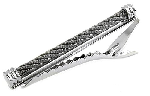Mens Tie Clip Stainless Steel Wire Cable Tie Bar - 2.5 Inches Wide + ...