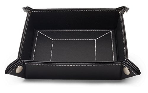 black leather mens valet tray catchall and storage organizer gift boxed