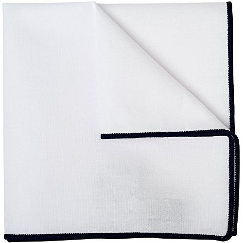 White Silk Pocket Square Black