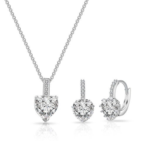 Image of Philip Jones Luxe Sapphire Simulated Heart Jewellery Set - esavy